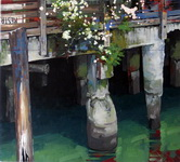 Pier Posts with Flowers   35x36, mr