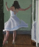 Dance, mm on panel, 10 by 8